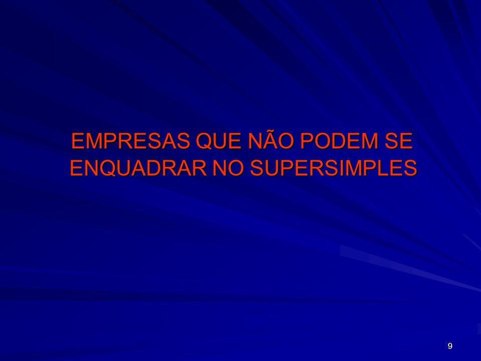 9 EMPRESAS QUE NÃO PODEM SE ENQUADRAR NO SUPERSIMPLES EMPRESAS QUE NÃO PODEM SE ENQUADRAR NO SUPERSIMPLES