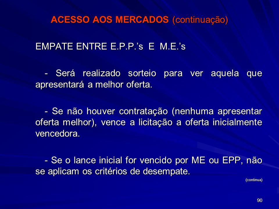 90 ACESSO AOS MERCADOS (continuação) EMPATE ENTRE E.P.P.s E M.E.s - Será realizado sorteio para ver aquela que apresentará a melhor oferta. - Se não h