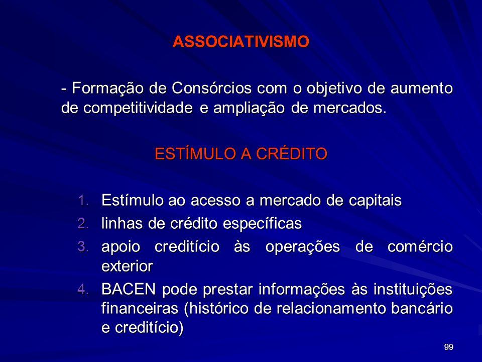 99 ASSOCIATIVISMO - Formação de Consórcios com o objetivo de aumento de competitividade e ampliação de mercados. - Formação de Consórcios com o objeti