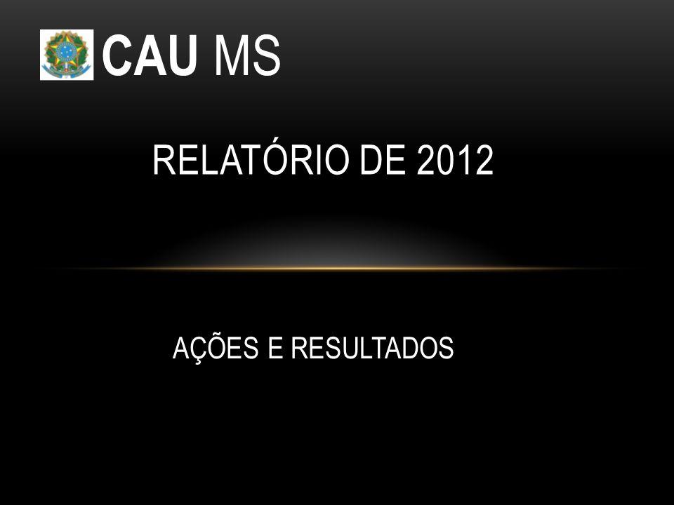 AÇÕES E RESULTADOS RELATÓRIO DE 2012 CAU MS