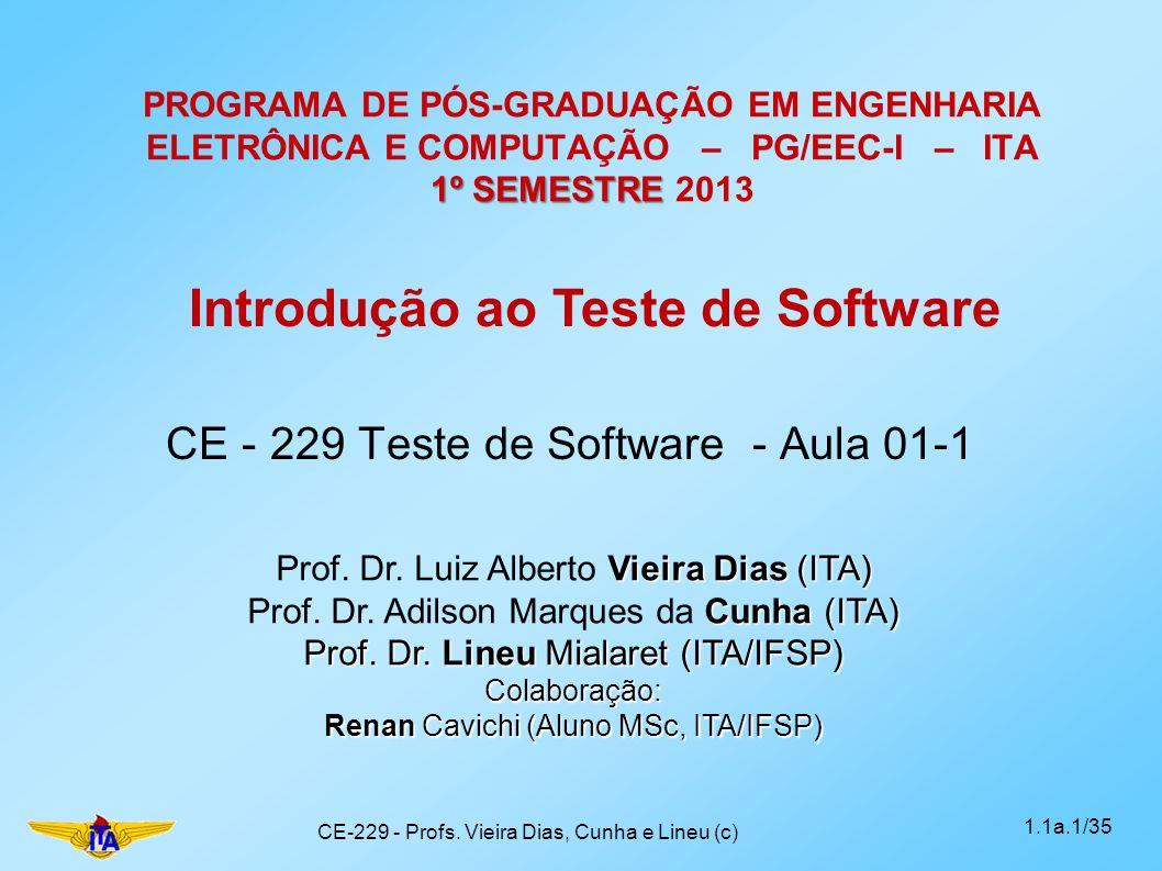 Tópicos a serem cobertos (3/4) Paradigmas de Teste (+ Mutação) Script de Teste (IEEE 829) Teste Exploratório Planejamento de Teste Tecnologias de Suporte Métodos Ágeis Taxonomia de Defeitos Quando terminar (conceito de done ) ( continua) 1.1a.12/35CE-229 - Profs.