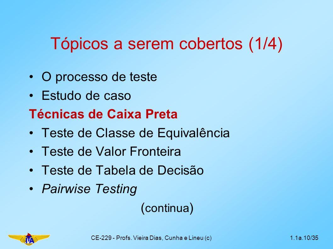 Tópicos a serem cobertos (1/4) O processo de teste Estudo de caso Técnicas de Caixa Preta Teste de Classe de Equivalência Teste de Valor Fronteira Tes