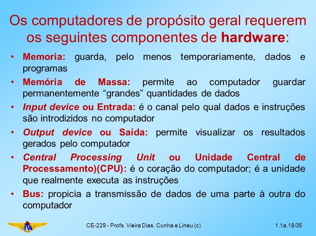 Os computadores de propósito geral requerem os seguintes componentes de hardware: Memoria: guarda, pelo menos temporariamente, dados e programas Memór