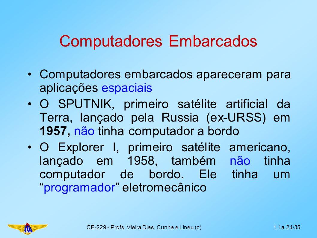Computadores Embarcados Computadores embarcados apareceram para aplicações espaciais O SPUTNIK, primeiro satélite artificial da Terra, lançado pela Russia (ex-URSS) em 1957, não tinha computador a bordo O Explorer I, primeiro satélite americano, lançado em 1958, também não tinha computador de bordo.