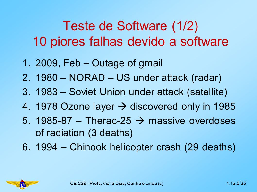 Teste de Software (1/2) 10 piores falhas devido a software 1.2009, Feb – Outage of gmail 2.1980 – NORAD – US under attack (radar) 3.1983 – Soviet Union under attack (satellite) 4.1978 Ozone layer discovered only in 1985 5.1985-87 – Therac-25 massive overdoses of radiation (3 deaths) 6.1994 – Chinook helicopter crash (29 deaths) CE-229 - Profs.