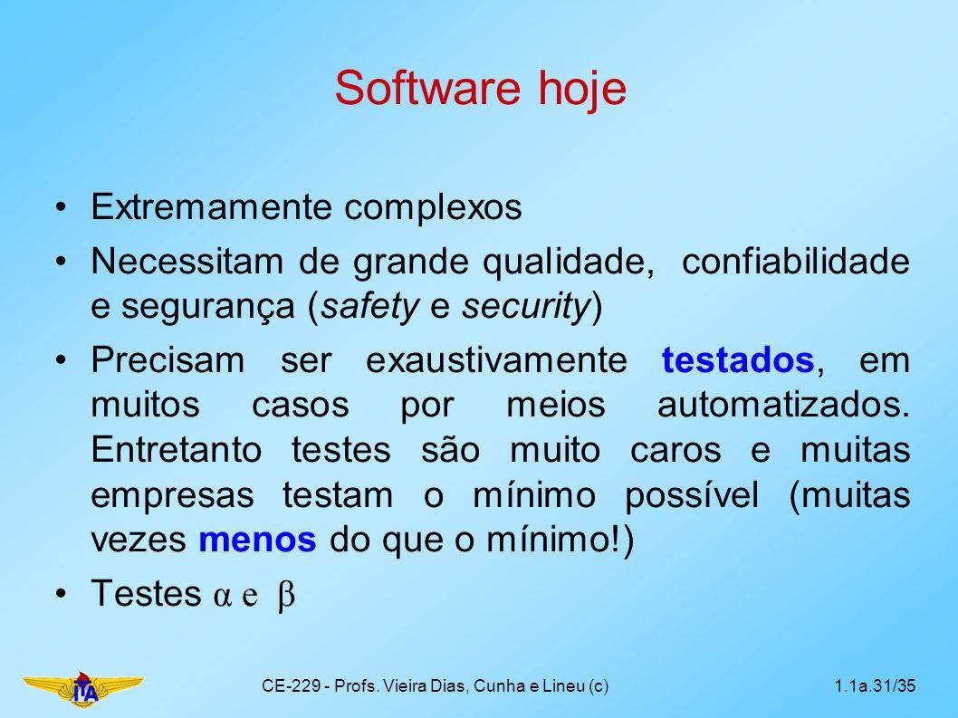 Software hoje Extremamente complexos Necessitam de grande qualidade, confiabilidade e segurança (safety e security) Precisam ser exaustivamente testad