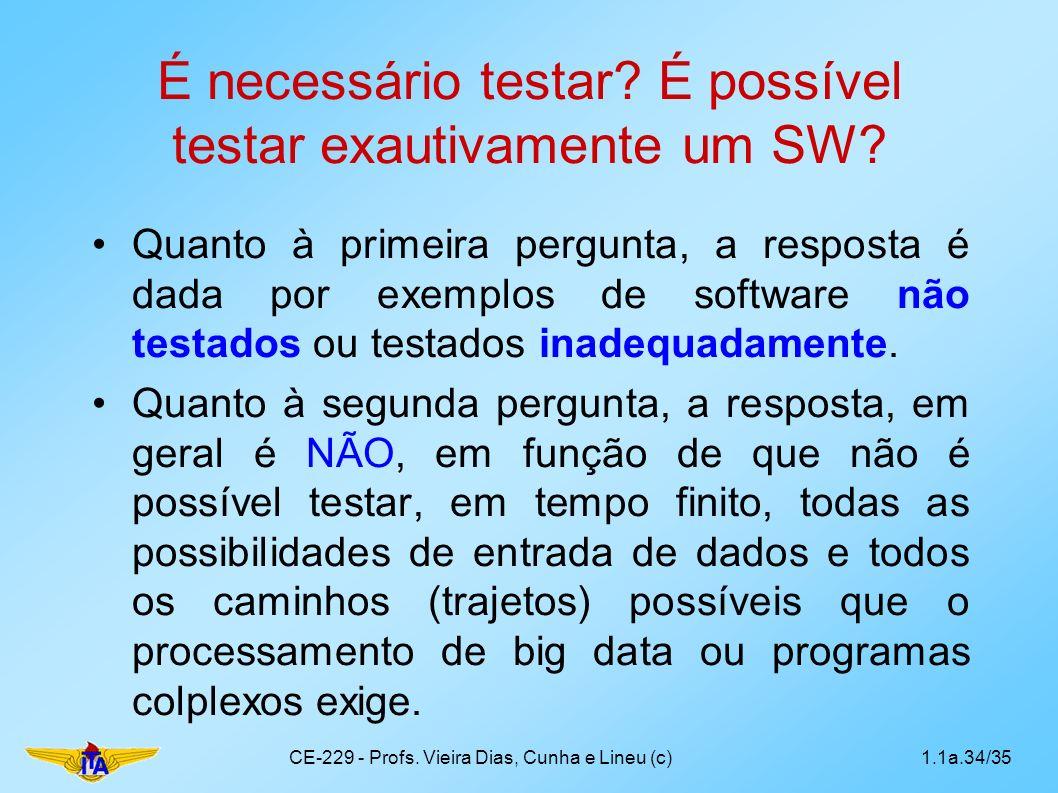 É necessário testar? É possível testar exautivamente um SW? Quanto à primeira pergunta, a resposta é dada por exemplos de software não testados ou tes