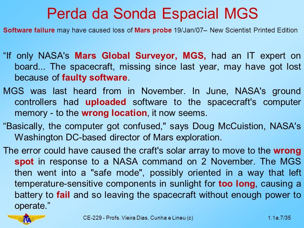 Perda da Sonda Espacial MGS Software failure may have caused loss of Mars probe 19/Jan/07– New Scientist Printed Edition If only NASA's Mars Global Su