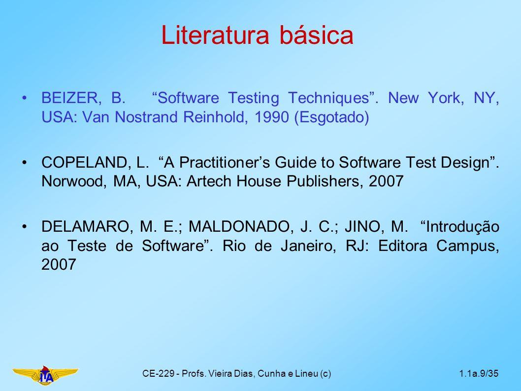 Literatura básica BEIZER, B. Software Testing Techniques. New York, NY, USA: Van Nostrand Reinhold, 1990 (Esgotado) COPELAND, L. A Practitioners Guide