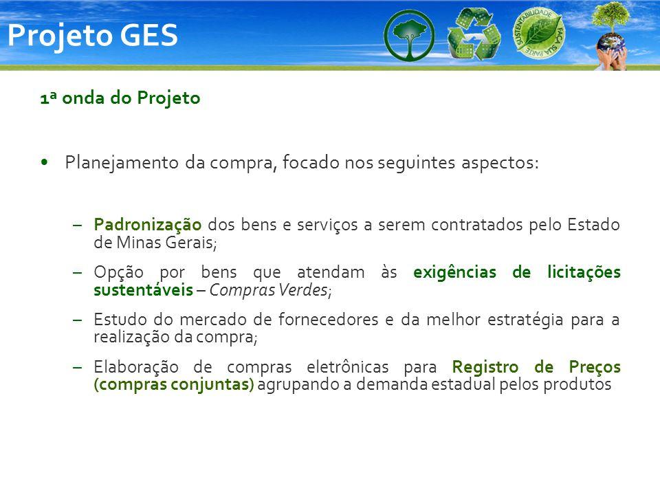 Projeto GES 1ª onda do Projeto Planejamento da compra, focado nos seguintes aspectos: –Padronização dos bens e serviços a serem contratados pelo Estad