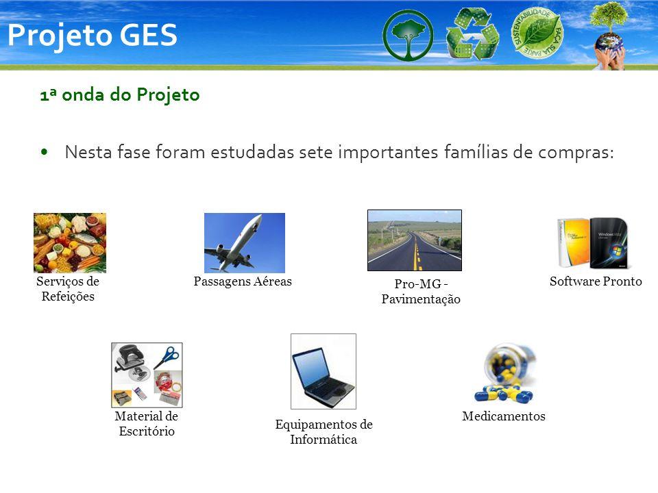 Projeto GES 1ª onda do Projeto Nesta fase foram estudadas sete importantes famílias de compras: Serviços de Refeições Pro-MG - Pavimentação Passagens
