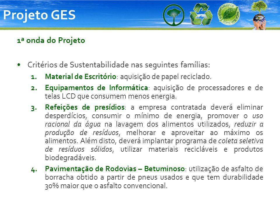 Projeto GES 1ª onda do Projeto Critérios de Sustentabilidade nas seguintes famílias: 1.Material de Escritório: aquisição de papel reciclado. 2.Equipam