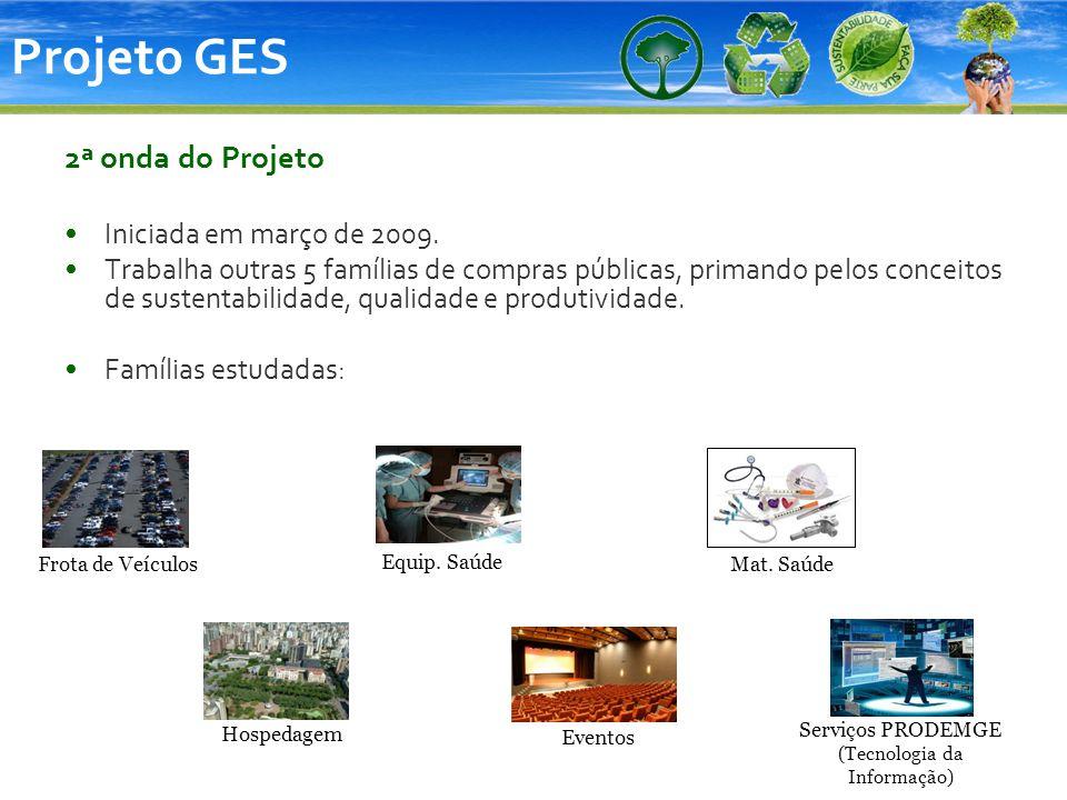 Projeto GES 2ª onda do Projeto Iniciada em março de 2009. Trabalha outras 5 famílias de compras públicas, primando pelos conceitos de sustentabilidade