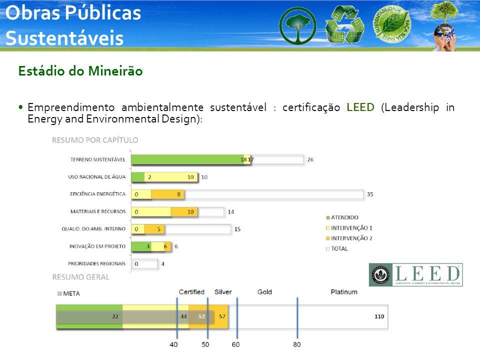 Obras Públicas Sustentáveis Estádio do Mineirão Empreendimento ambientalmente sustentável : certificação LEED (Leadership in Energy and Environmental