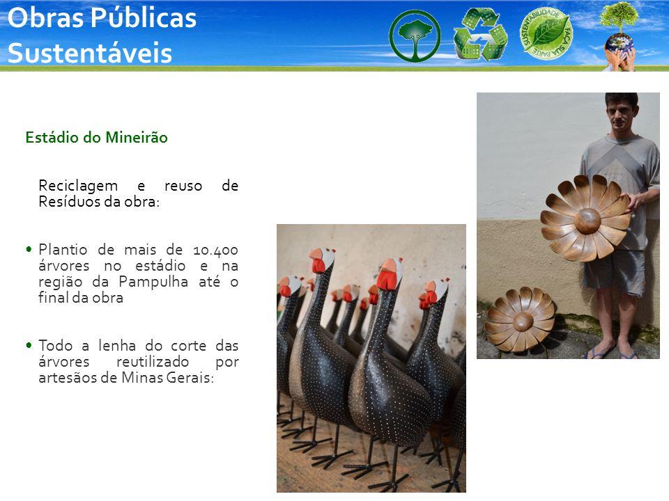 Obras Públicas Sustentáveis Estádio do Mineirão Reciclagem e reuso de Resíduos da obra: Plantio de mais de 10.400 árvores no estádio e na região da Pa