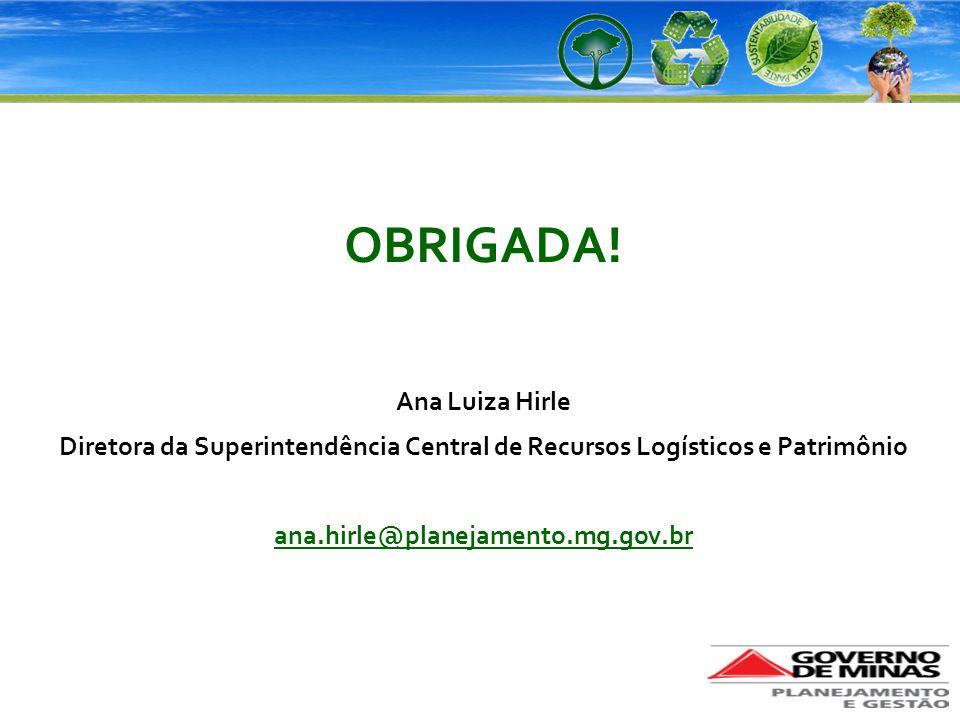OBRIGADA! Ana Luiza Hirle Diretora da Superintendência Central de Recursos Logísticos e Patrimônio ana.hirle@planejamento.mg.gov.br