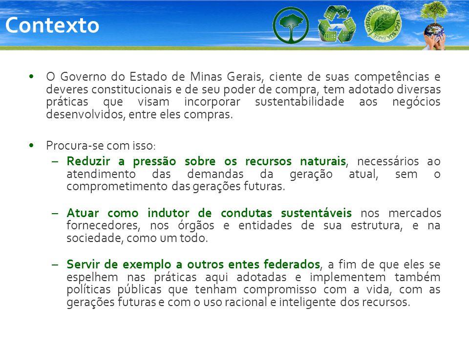 Contexto O Governo do Estado de Minas Gerais, ciente de suas competências e deveres constitucionais e de seu poder de compra, tem adotado diversas prá