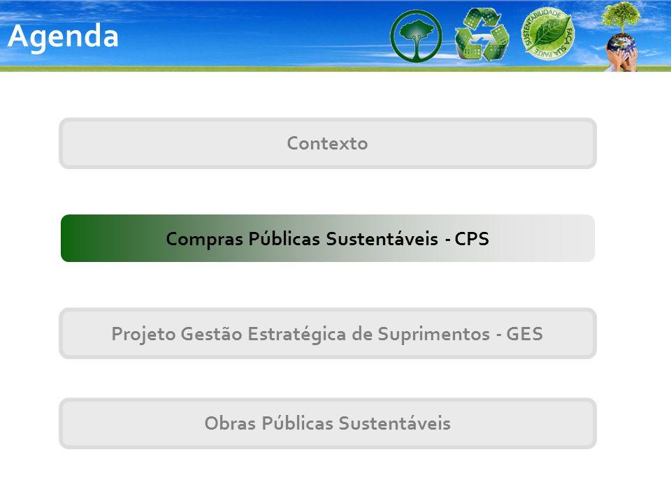 Contexto Projeto Gestão Estratégica de Suprimentos - GES Compras Públicas Sustentáveis - CPS Obras Públicas Sustentáveis Agenda