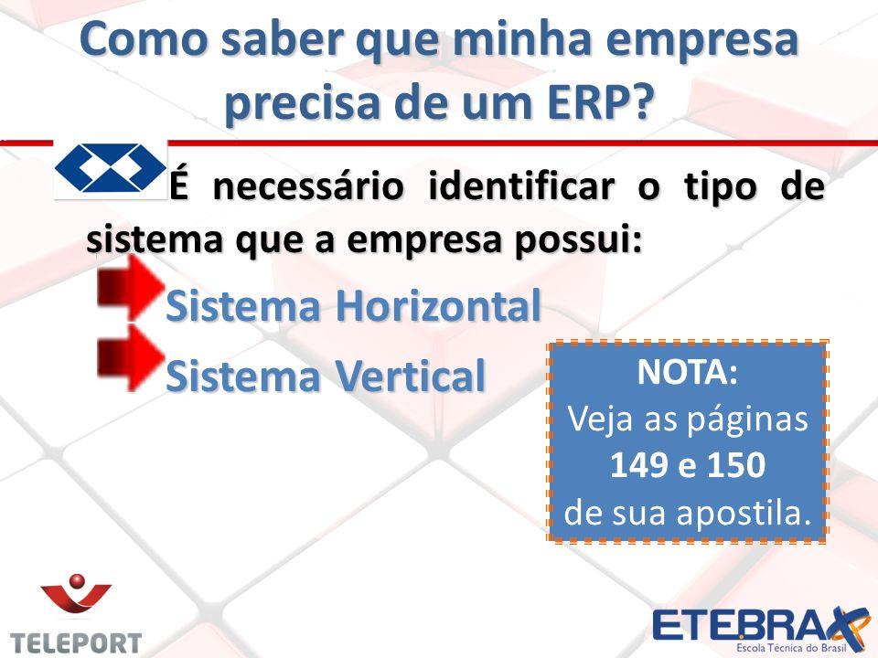 Como saber que minha empresa precisa de um ERP? É necessário identificar o tipo de sistema que a empresa possui: Sistema Horizontal Sistema Vertical N