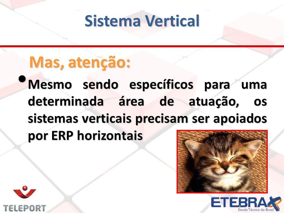 Sistema Vertical Mas, atenção: Mesmo sendo específicos para uma determinada área de atuação, os sistemas verticais precisam ser apoiados por ERP horiz