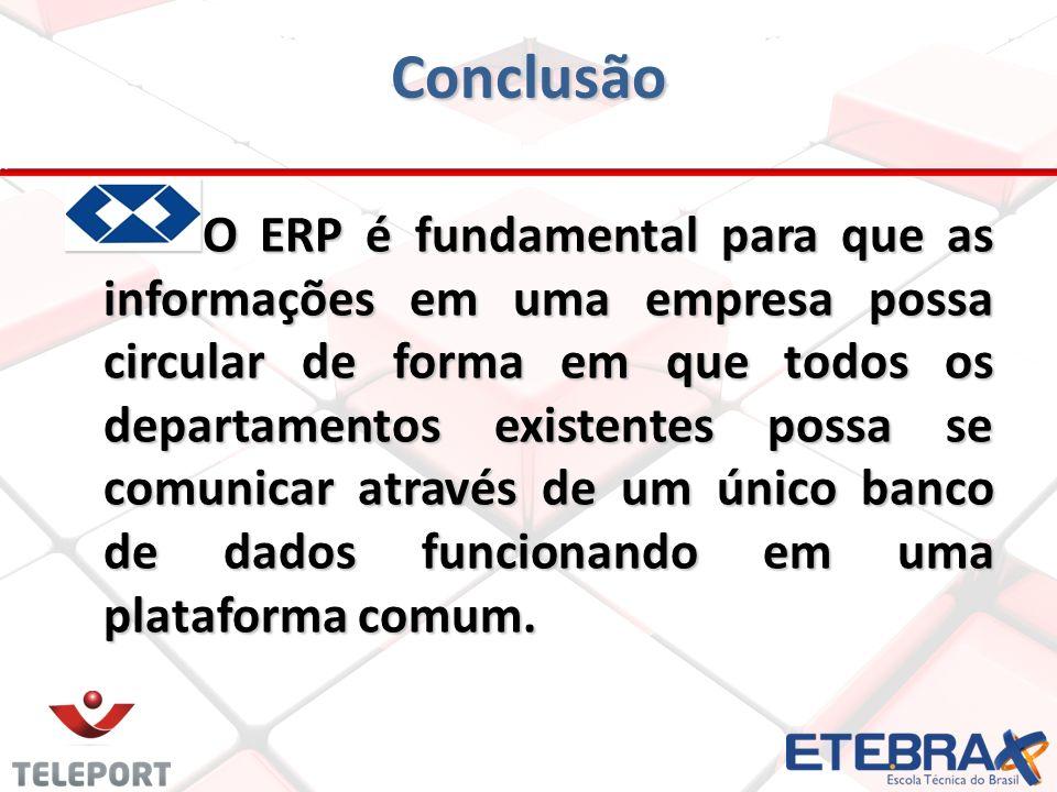 Conclusão O ERP é fundamental para que as informações em uma empresa possa circular de forma em que todos os departamentos existentes possa se comunic