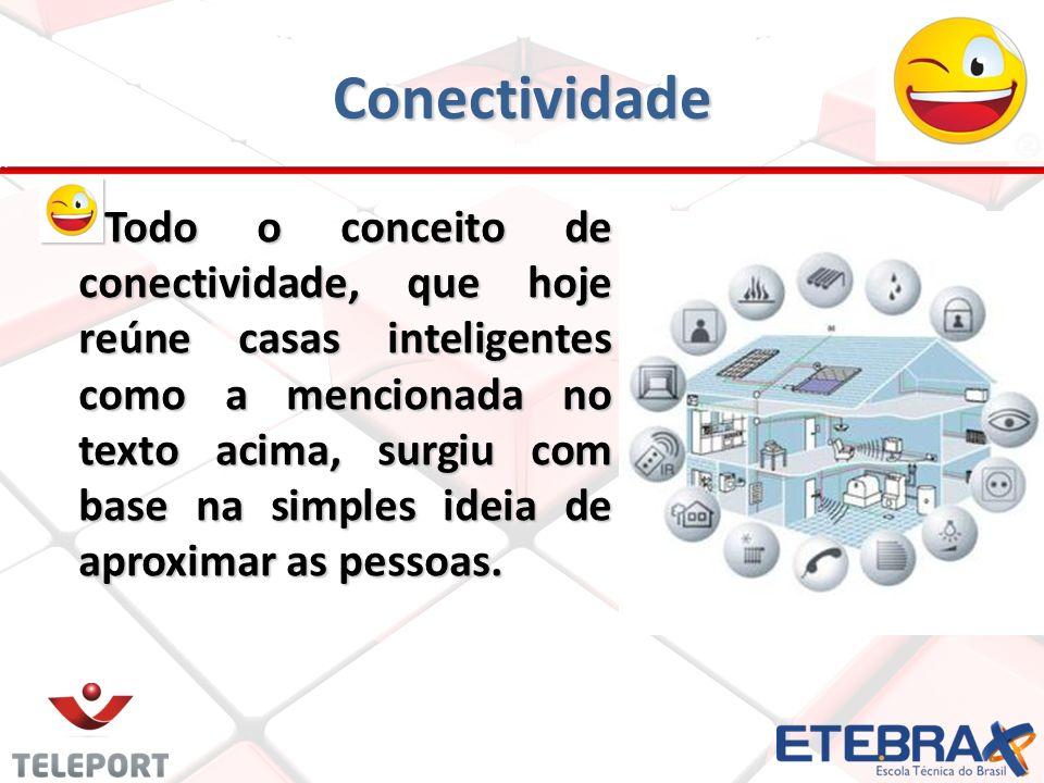 Conectividade T odo o conceito de conectividade, que hoje reúne casas inteligentes como a mencionada no texto acima, surgiu com base na simples ideia