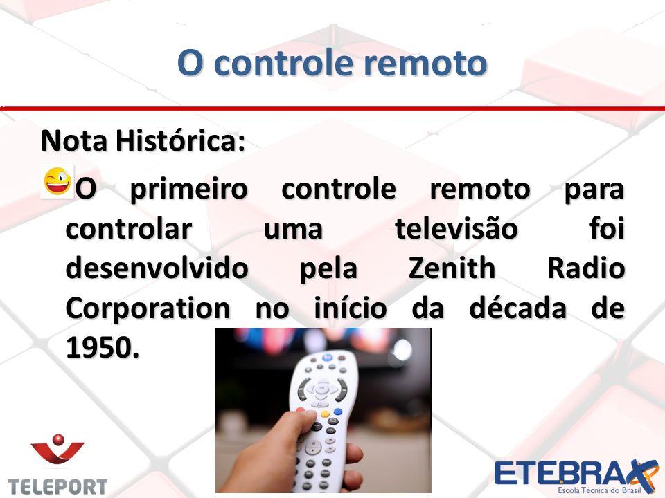 Nota Histórica: O primeiro controle remoto para controlar uma televisão foi desenvolvido pela Zenith Radio Corporation no início da década de 1950.