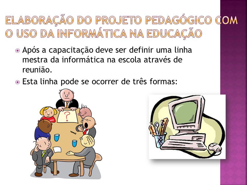 Após a capacitação deve ser definir uma linha mestra da informática na escola através de reunião.