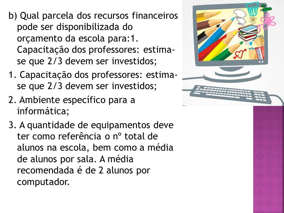 b) Qual parcela dos recursos financeiros pode ser disponibilizada do orçamento da escola para:1.