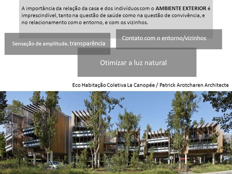 Eco Habitação Coletiva La Canopée / Patrick Arotcharen Architecte A importância da relação da casa e dos indivíduos com o AMBIENTE EXTERIOR é impresci