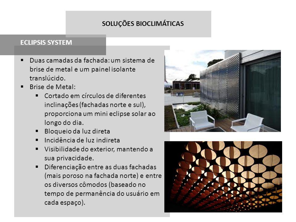 ECLIPSIS SYSTEM Duas camadas da fachada: um sistema de brise de metal e um painel isolante translúcido. Brise de Metal: Cortado em círculos de diferen