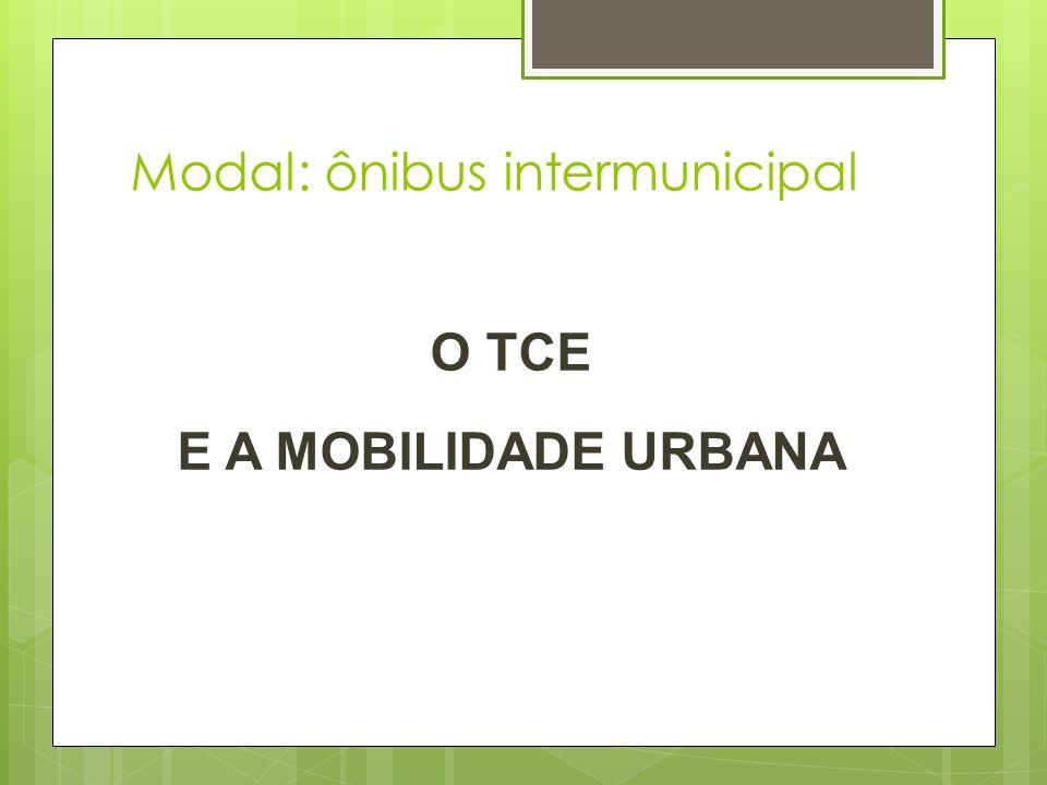 Modal: ônibus intermunicipal O TCE E A MOBILIDADE URBANA