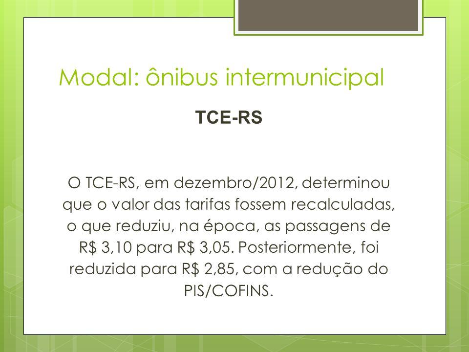 Modal: ônibus intermunicipal TCE-RS O TCE-RS, em dezembro/2012, determinou que o valor das tarifas fossem recalculadas, o que reduziu, na época, as pa
