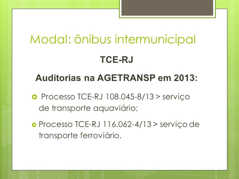 Modal: ônibus intermunicipal TCE-RJ Auditorias na AGETRANSP em 2013: Processo TCE-RJ 108.045-8/13 > serviço de transporte aquaviário; Processo TCE-RJ