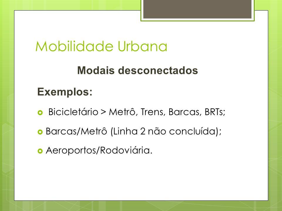 Mobilidade Urbana Modais desconectados Exemplos: Bicicletário > Metrô, Trens, Barcas, BRTs; Barcas/Metrô (Linha 2 não concluída); Aeroportos/Rodoviári
