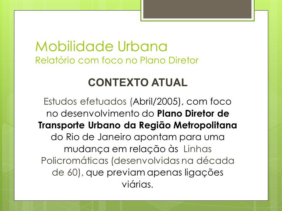 Mobilidade Urbana Relatório com foco no Plano Diretor CONTEXTO ATUAL Estudos efetuados (Abril/2005), com foco no desenvolvimento do Plano Diretor de T