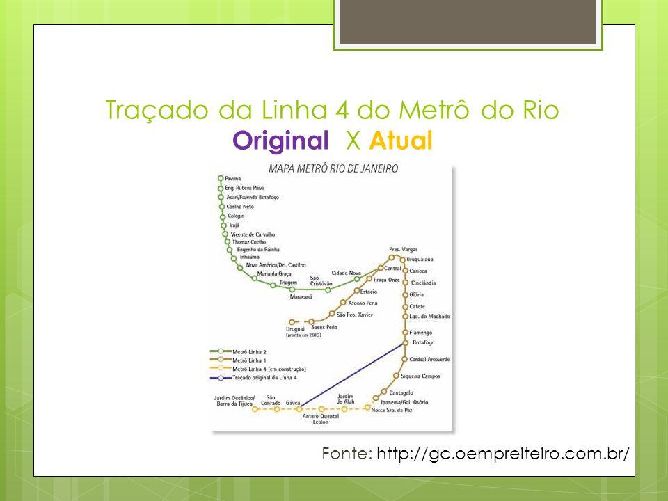 Traçado da Linha 4 do Metrô do Rio Original X Atual Fonte: http://gc.oempreiteiro.com.br/