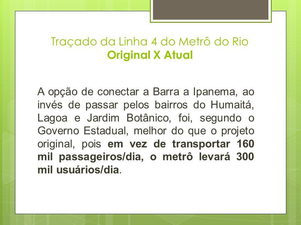 Traçado da Linha 4 do Metrô do Rio Original X Atual A opção de conectar a Barra a Ipanema, ao invés de passar pelos bairros do Humaitá, Lagoa e Jardim