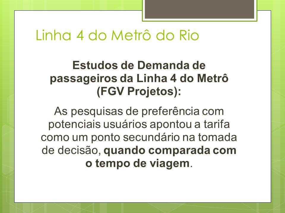 Linha 4 do Metrô do Rio Estudos de Demanda de passageiros da Linha 4 do Metrô (FGV Projetos): As pesquisas de preferência com potenciais usuários apon