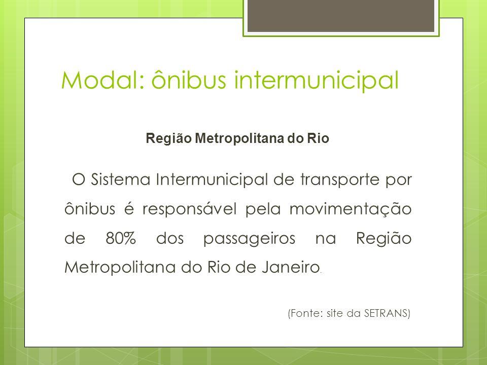 Modal: ônibus intermunicipal Região Metropolitana do Rio O Sistema Intermunicipal de transporte por ônibus é responsável pela movimentação de 80% dos