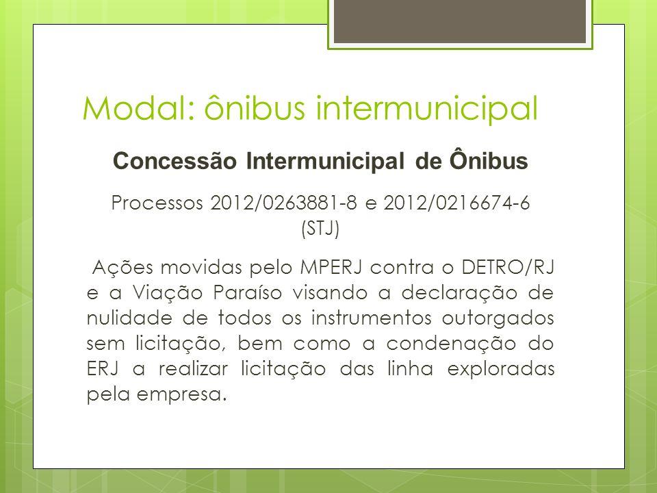 Modal: ônibus intermunicipal Concessão Intermunicipal de Ônibus Processos 2012/0263881-8 e 2012/0216674-6 (STJ) Ações movidas pelo MPERJ contra o DETR