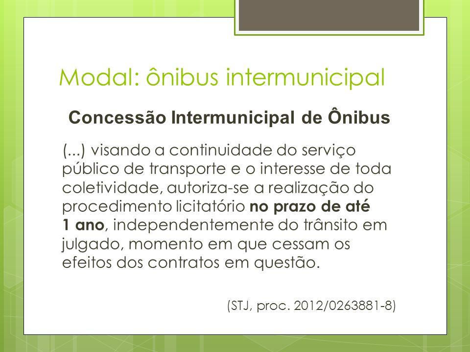 Modal: ônibus intermunicipal Concessão Intermunicipal Decisão STJ > Obrigatoriedade de licitar até, no máximo, um ano (linhas operadas pela Viação Paraíso e Santa Luzia).