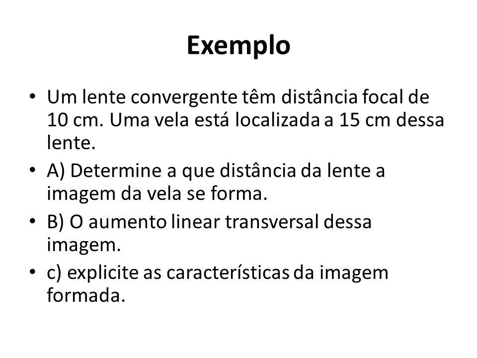 Exemplo Um lente convergente têm distância focal de 10 cm. Uma vela está localizada a 15 cm dessa lente. A) Determine a que distância da lente a image