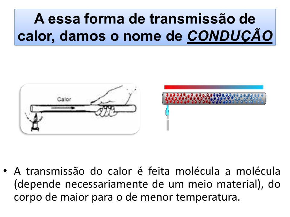 A essa forma de transmissão de calor, damos o nome de CONDUÇÃO A transmissão do calor é feita molécula a molécula (depende necessariamente de um meio