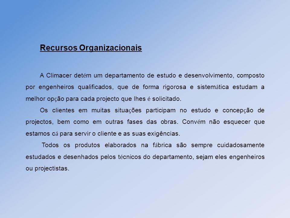 Recursos Organizacionais A Climacer det é m um departamento de estudo e desenvolvimento, composto por engenheiros qualificados, que de forma rigorosa