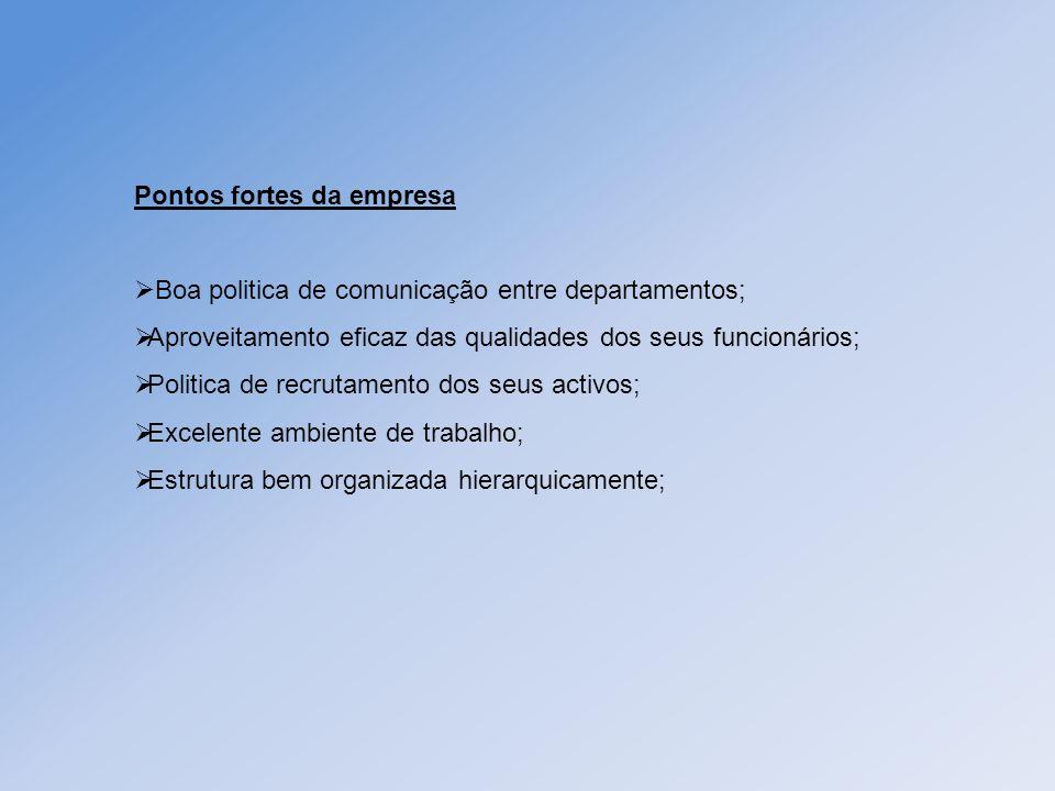 Pontos fortes da empresa Boa politica de comunicação entre departamentos; Aproveitamento eficaz das qualidades dos seus funcionários; Politica de recr