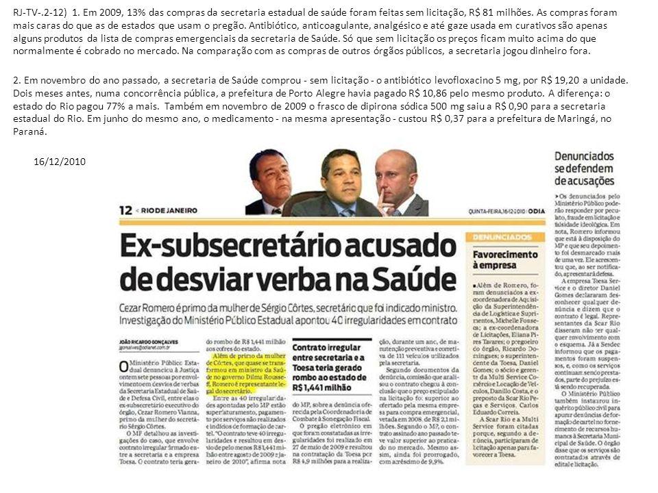 RJ-TV-.2-12) 1. Em 2009, 13% das compras da secretaria estadual de saúde foram feitas sem licitação, R$ 81 milhões. As compras foram mais caras do que