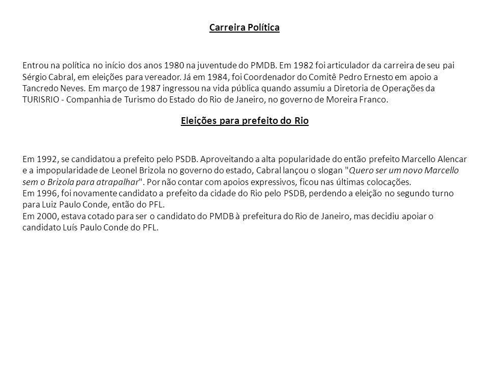Carreira Política Entrou na política no início dos anos 1980 na juventude do PMDB. Em 1982 foi articulador da carreira de seu pai Sérgio Cabral, em el