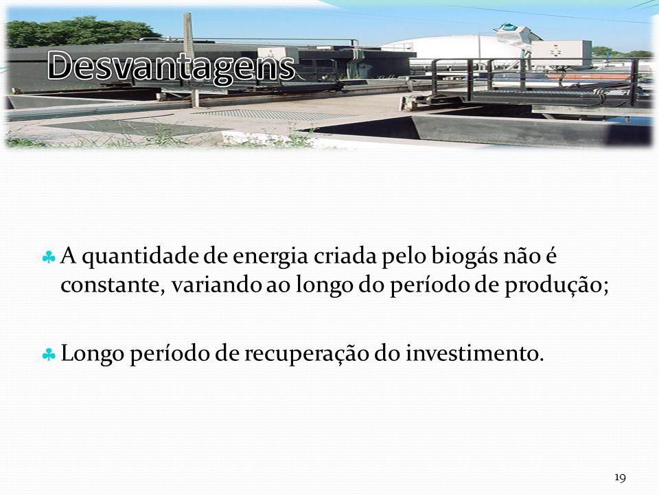 Curso Técnico de Informática e Sistemas A quantidade de energia criada pelo biogás não é constante, variando ao longo do período de produção; Longo período de recuperação do investimento.