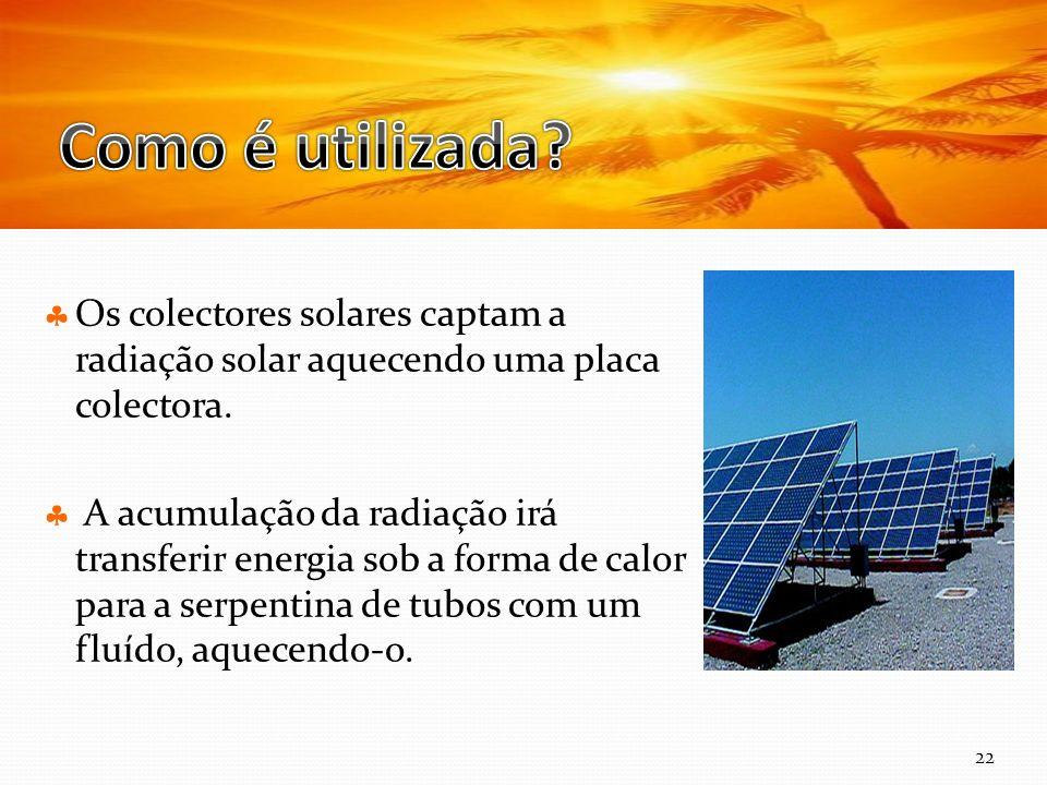 Curso Técnico de Informática e Sistemas Os colectores solares captam a radiação solar aquecendo uma placa colectora.